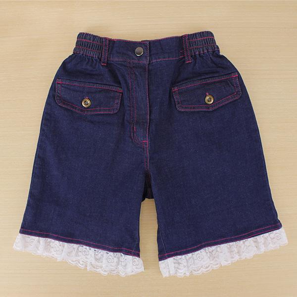 【愛的世界】SUPERKIDS 彈性鬆緊帶蕾絲牛仔短褲/6~12歲-中國製-