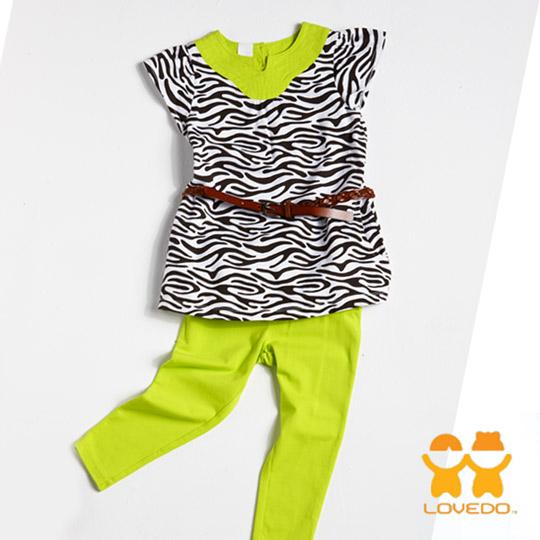 【LOVEDO-艾唯多童裝】亮麗斑馬紋 兩件組套裝
