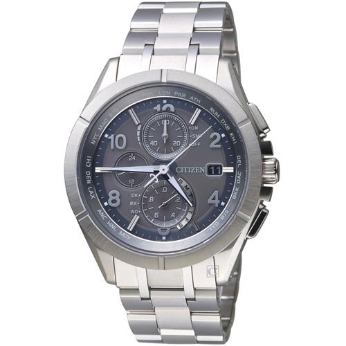 CITIZEN 星辰衝鋒時機電波鈦金屬腕錶 AT8160-55H 灰色