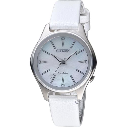 CITIZEN星辰幾何線條時尚Eco-Drive腕錶 EM0597-12D