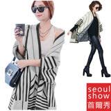 Seoul Show首爾秀 秋冬韓版 幾何線條 羊毛大衣斗篷外套蝙蝠袖針織圍巾披肩
