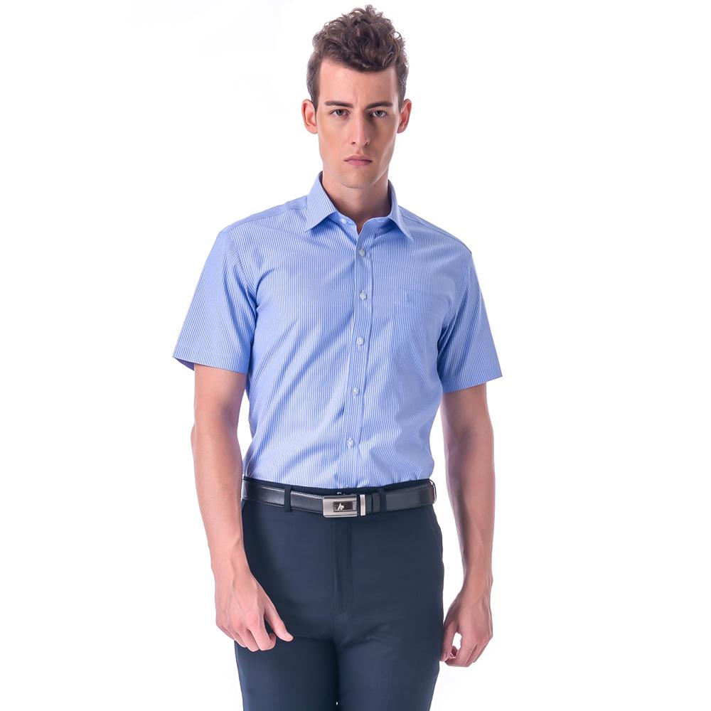 【金安德森】藍底白條紋窄版短袖襯衫