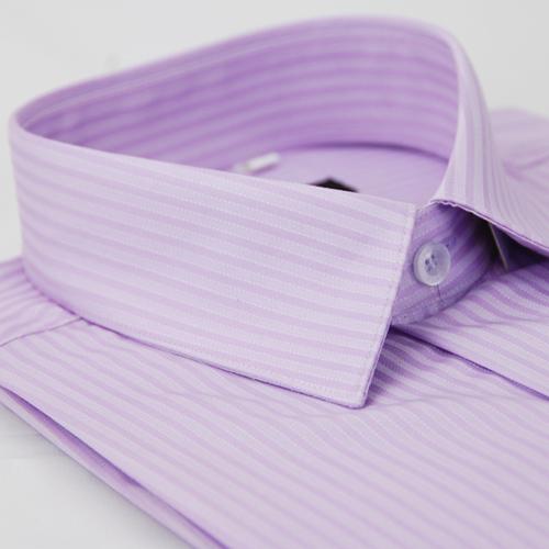 【金安德森】紫色寬暗紋窄版短袖襯衫