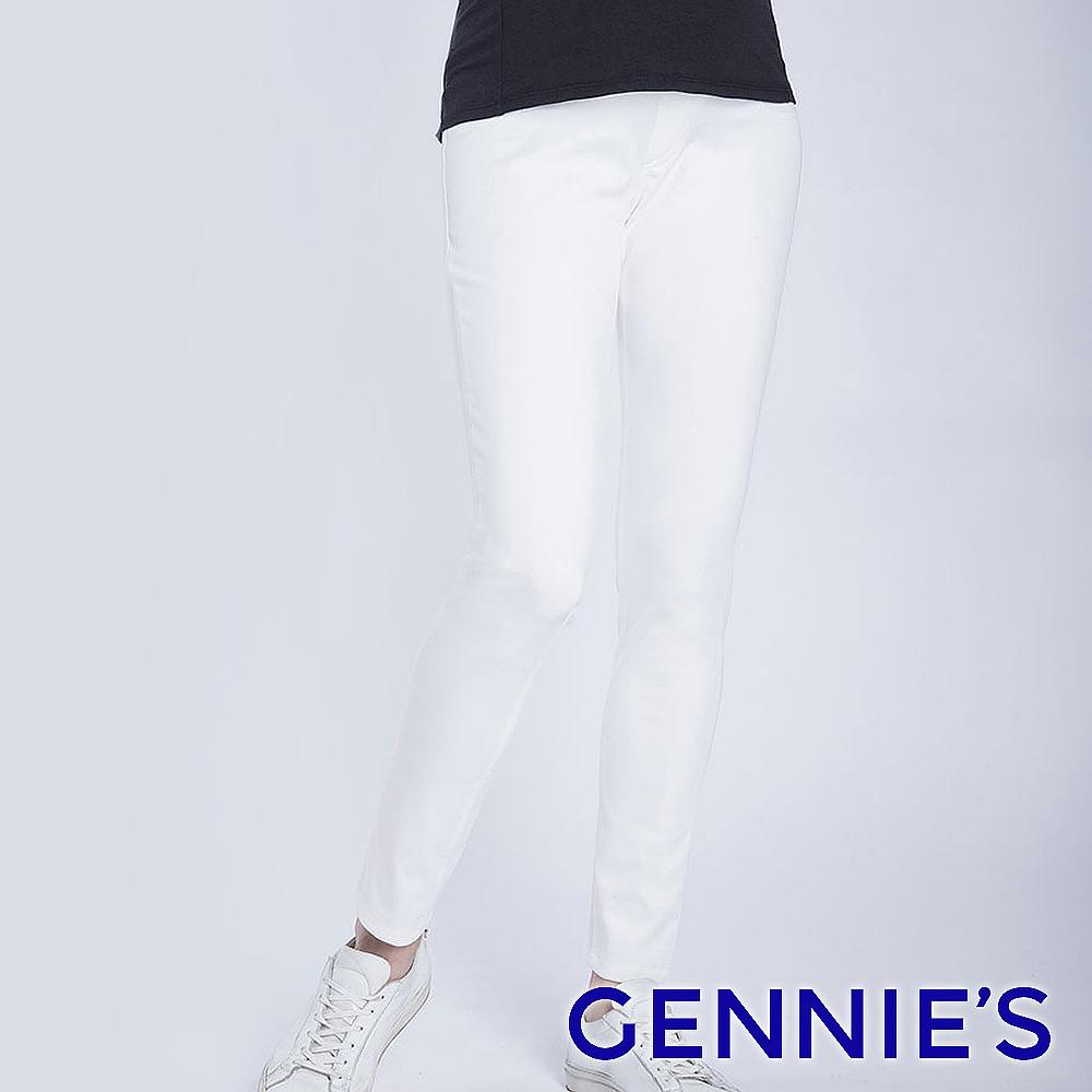 Gennies奇妮-彈力窄管顯瘦一體成型修身褲(白T4F09)