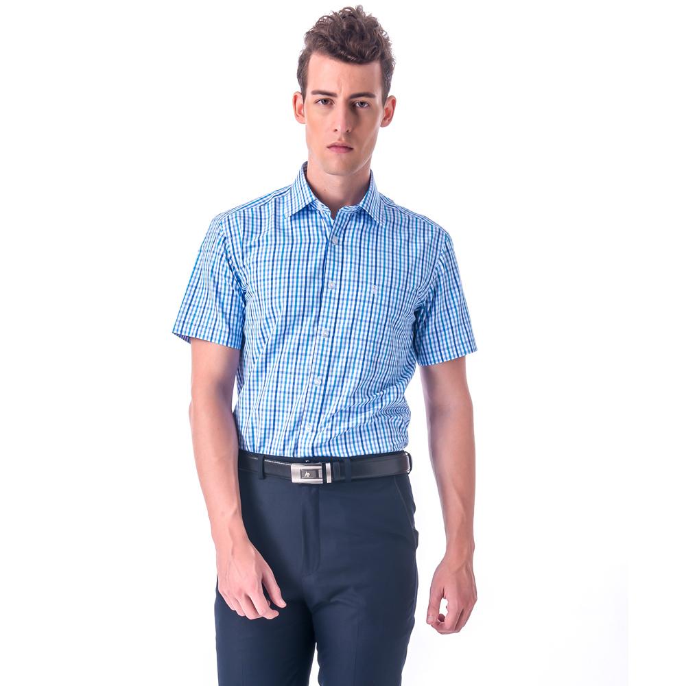 【金安德森】藍色小格紋窄版短袖襯衫