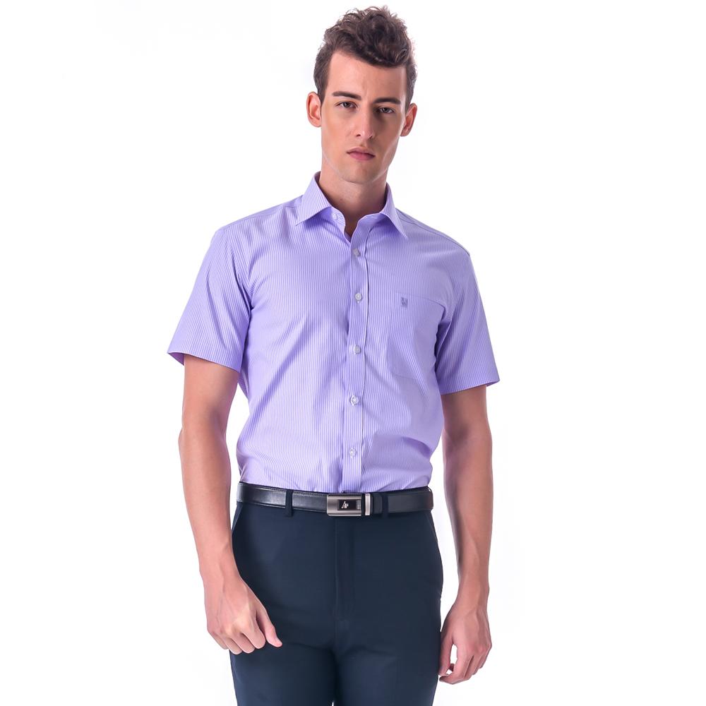 【金安德森】紫色白細紋窄版短袖襯衫