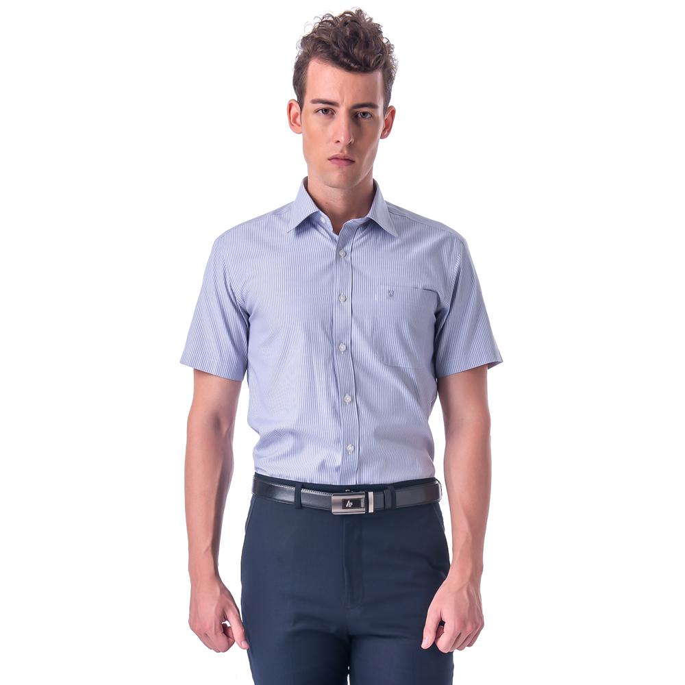 【金安德森】灰色白細紋窄版短袖襯衫