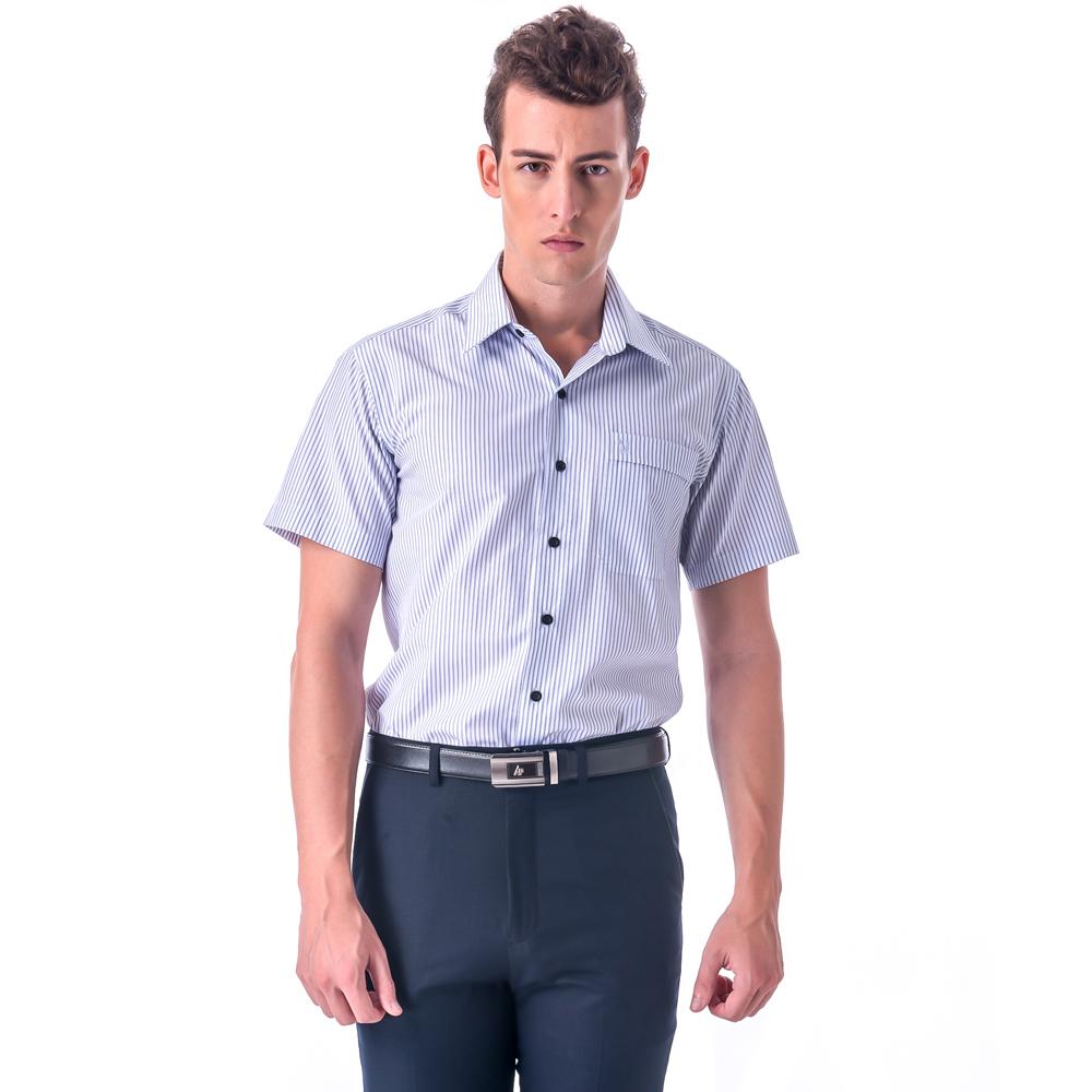 【金安德森】藍色條紋黑釦窄版短袖襯衫