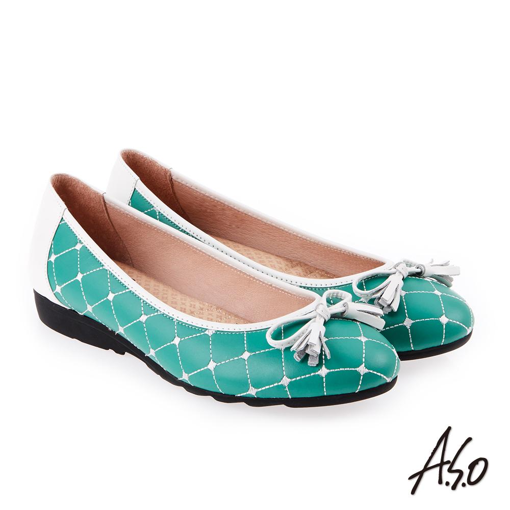 A.S.O 甜美樂章 經典菱格流蘇蝴蝶結平底鞋(綠色)