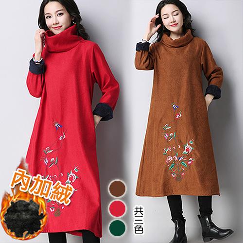 【韓國KW】L-2XL 秋冬文藝復古精緻刺繡加絨保暖洋裝