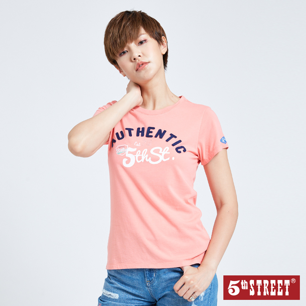 5th STREET 美式貼布繡花短袖T恤-女-桔色