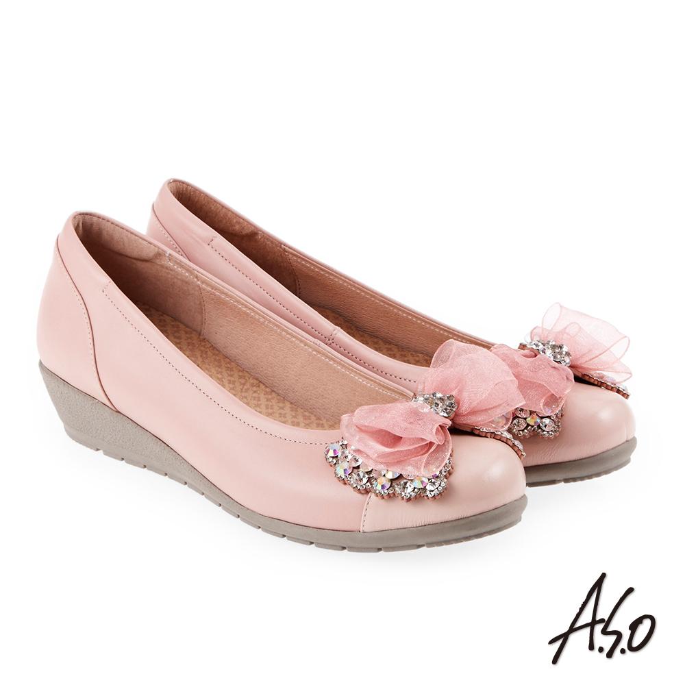 A.S.O 浪漫優雅 全真皮水鑽緞帶蝴蝶結低跟鞋(粉紅)