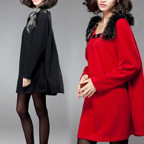 【韓國KW】L-4XL 秋冬名媛貴氣絨毛肩飾毛呢寬鬆素面洋裝