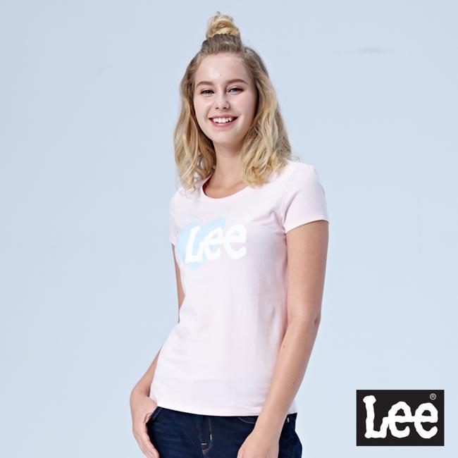 Lee 愛心 LOGO短袖圓領TEE-淺粉色