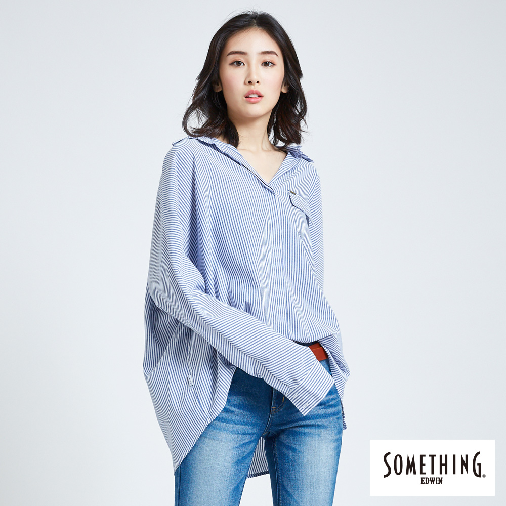 SOMETHING 亞維儂 直條紋寬鬆長袖襯衫-女-藍色