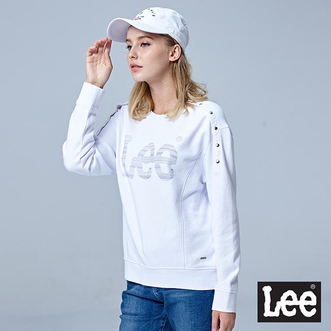 Lee LEE圓領釘扣開肩設計長袖厚TEE/BO - 白色