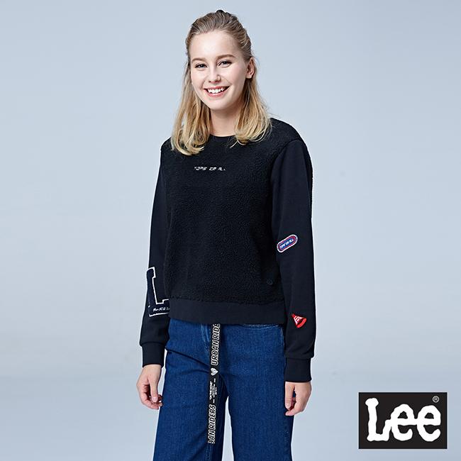 Lee 異材質拼接圓領長袖厚TEE/RG - 黑色