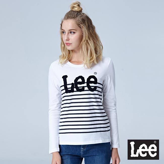 Lee LEE條紋LOGO長袖圓領Tee - 白色