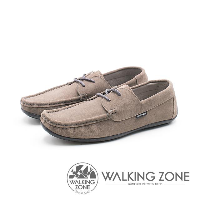 WALKING ZONE 極簡雅痞懶人鞋休閒鞋 鞋帶造型基本款 男鞋-灰棕(另有藍)