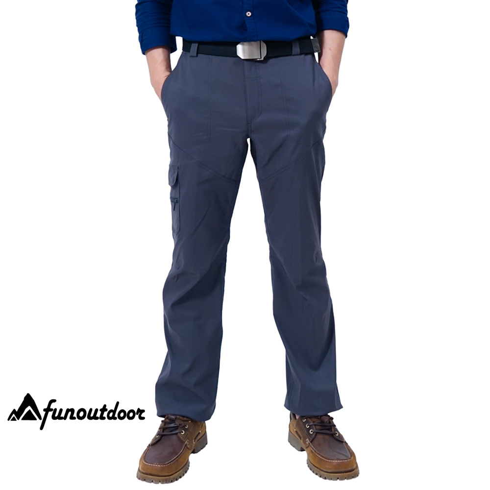 【戶外趣】德國原創 男多口袋防潑水科技輕薄超彈快乾萊卡UPF50+防曬長褲(HPM001S 炭灰)