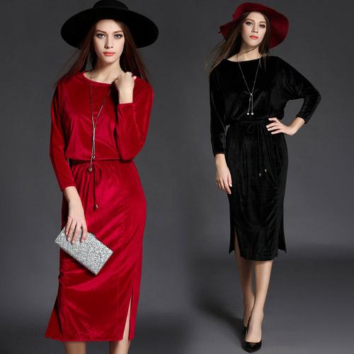【歐風KEITH-WILL】F 秋冬歐美大牌絲絨顯瘦包臀素面洋裝