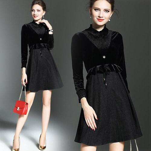 【歐風KEITH-WILL】XL-2XL 秋冬高貴典雅黑色絲絨長袖洋裝