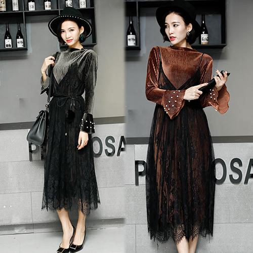 【韓國KW】M-XL 秋冬完美輕奢華二件式二穿蕾絲絲絨洋裝