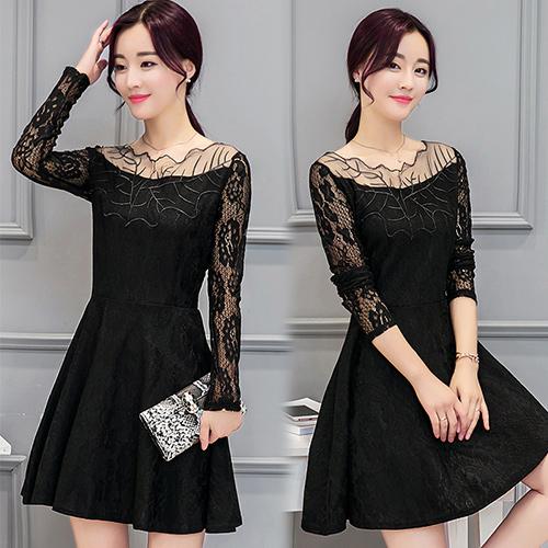 【韓國KW】2XL 秋冬專櫃蕾絲設計收腰洋裝