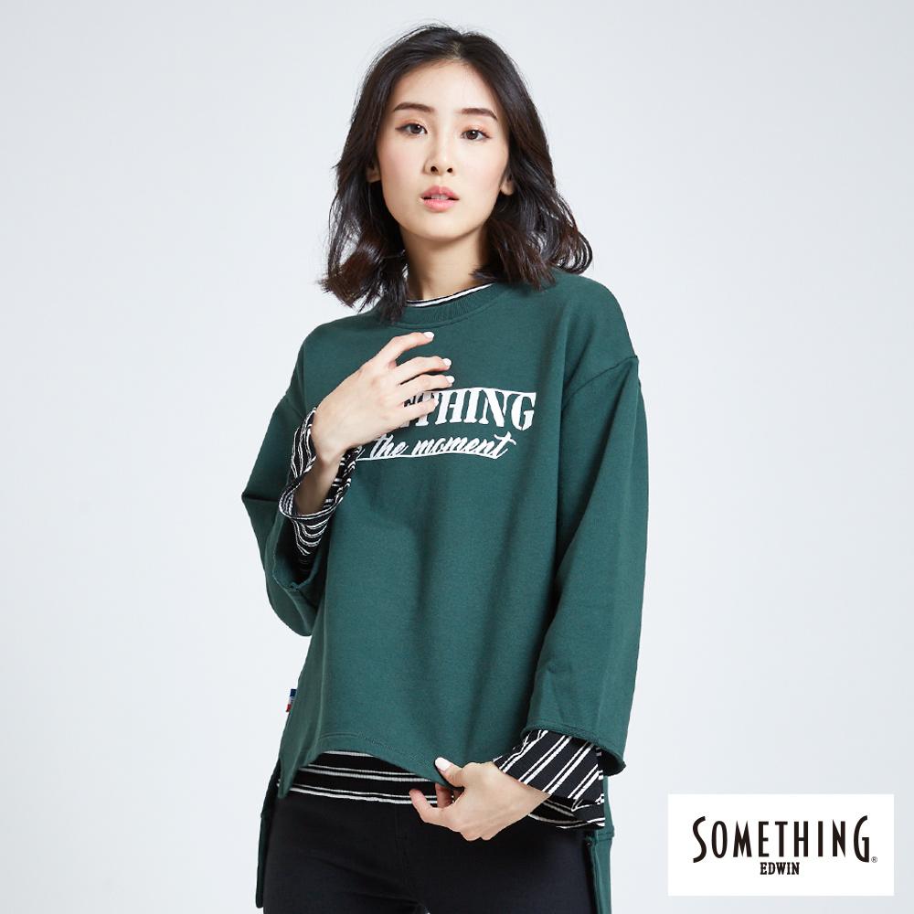 SOMETHING 青春高校 休閒字母圓領長袖T恤-女-苔綠