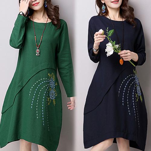 【韓國KW】M-XL 秋冬民族風素色印花洋裝