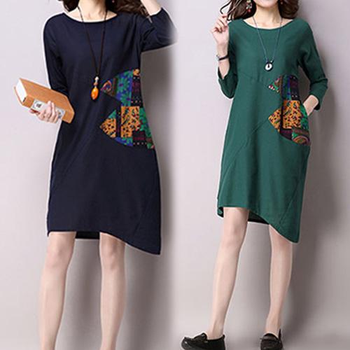 【韓國KW】M-XL 秋冬復古民族風撞色寬鬆長袖棉麻印花洋裝