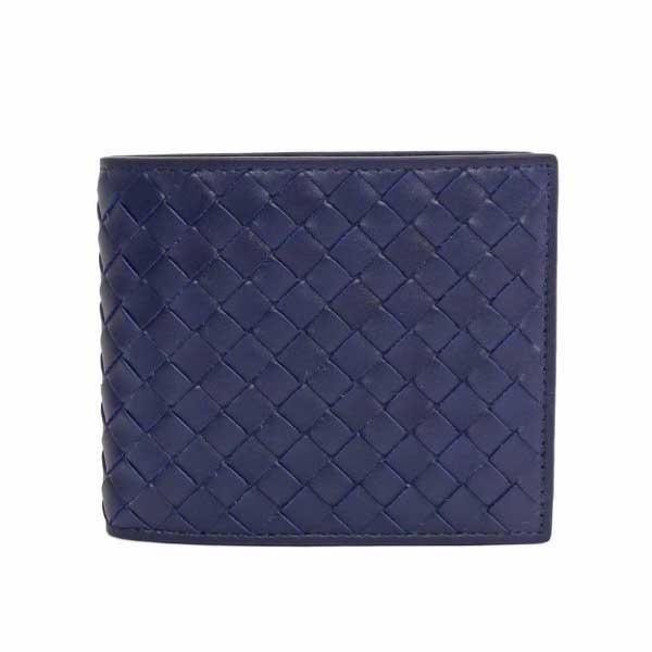 【BOTTEGA VENETA】小牛皮編織 對開8卡短夾(寶藍)