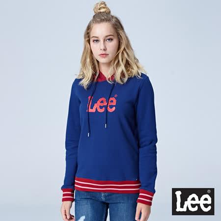LEE  條紋配色LOGO帽T