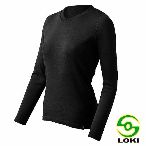 LOKI 女 MUSPEL EXOWARM V領保暖衣(黑色)