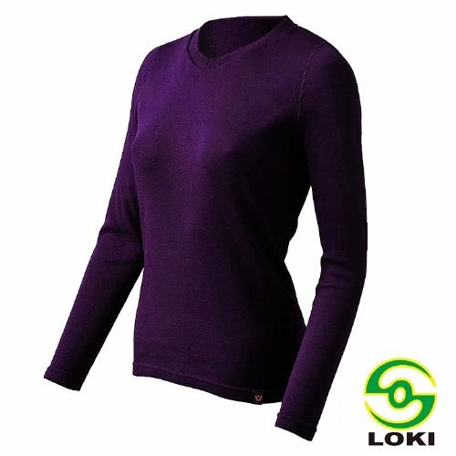 LOKI 女 MUSPEL EXOWARM V領保暖衣(貴氣紫)