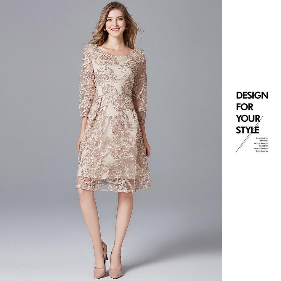 Olivia奧莉精品 祼色華麗質感蕾絲修身洋裝 L~5XL 蕾絲 洋裝 連身裙 禮服 伴娘服 媽媽裝