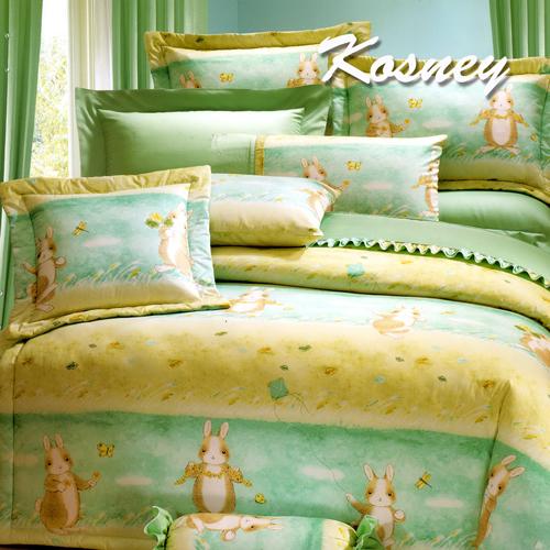 《KOSNEY 》綠野魅力(頂級加大活性精梳棉六件式床罩組台灣精製)