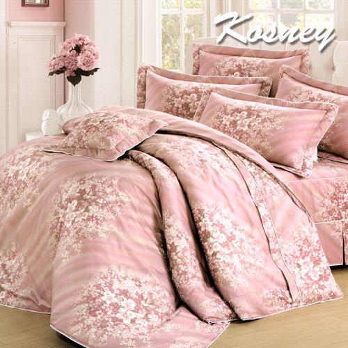《KOSNEY 》典藏玫瑰(頂級加大活性精梳棉六件式床罩組台灣精製)