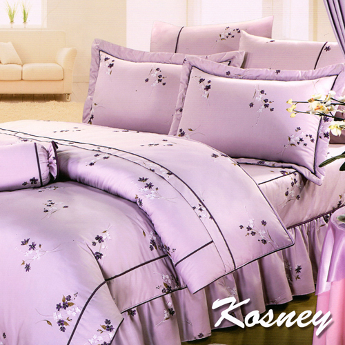 《KOSNEY 》紫語花魅(頂級加大活性精梳棉六件式床罩組台灣精製)