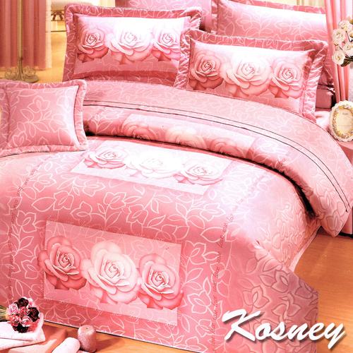 《KOSNEY 》玫瑰花語(頂級加大活性精梳棉六件式床罩組台灣精製)