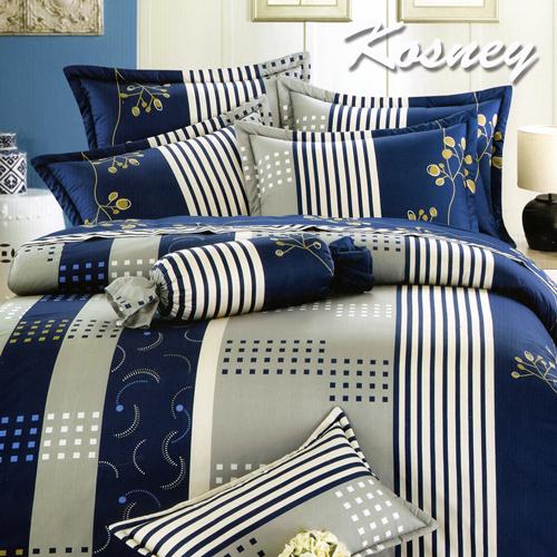 《KOSNEY 》奢華藍采(頂級加大活性精梳棉六件式床罩組台灣精製)