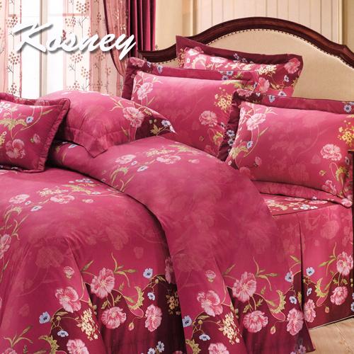 《KOSNEY 》喜氣浪漫紅(頂級加大活性精梳棉六件式床罩組台灣精製)