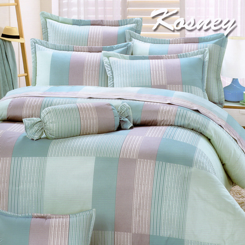 《KOSNEY 》綠美世界(頂級加大活性精梳棉六件式床罩組台灣精製)
