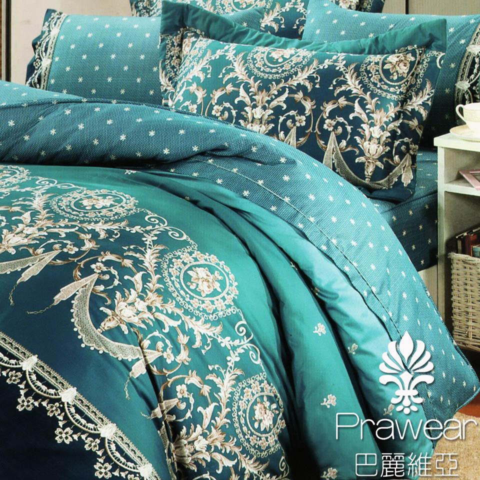 《KOSNEY 》皇室品味綠(頂級加大活性精梳棉六件式床罩組台灣精製)