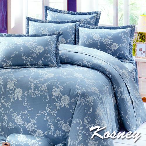 《KOSNEY 》花情世界(頂級加大活性精梳棉六件式床罩組台灣精製)