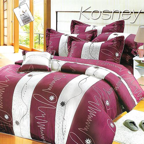 《KOSNEY 》紫情魅力(頂級加大活性精梳棉六件式床罩組台灣精製)