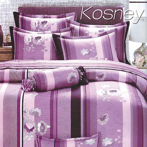 《KOSNEY 》紫甜蜜(頂級加大活性精梳棉六件式床罩組台灣精製)