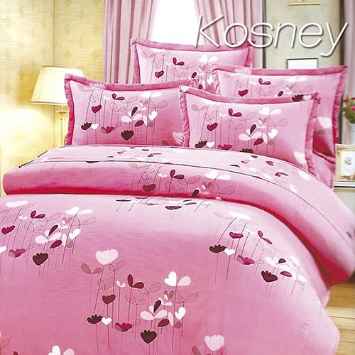 《KOSNEY 》粉戀之花(頂級加大活性精梳棉六件式床罩組台灣精製)