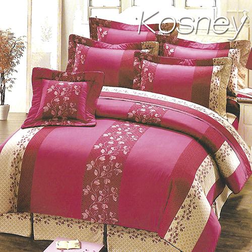 《KOSNEY 》奢華粉(頂級加大活性精梳棉六件式床罩組台灣精製)