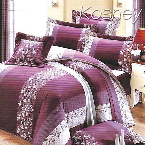 《KOSNEY 》奢華紫(頂級加大活性精梳棉六件式床罩組台灣精製)